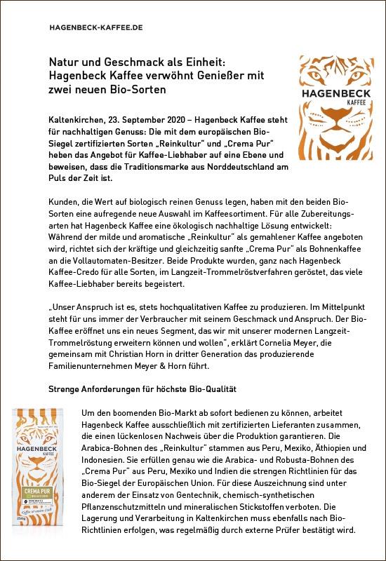 HK Pressemitteilung Hagenbeck-Kaffee