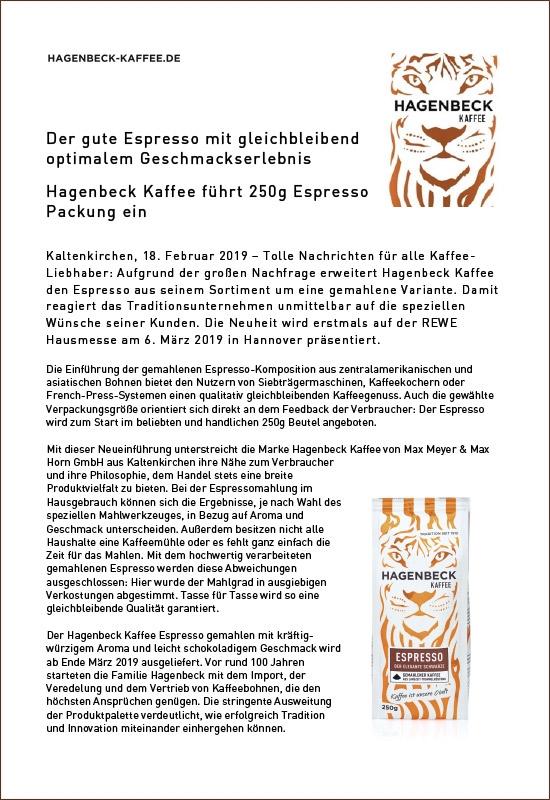 Pressemitteilung Hagenbeck-Kaffee - Neu im Regal