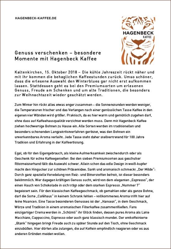 Pressemitteilung Hagenbeck-Kaffee - Marke - Qualität