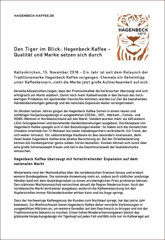 Pressemitteilung Hagenbeck-Kaffee - Genuss verschenken