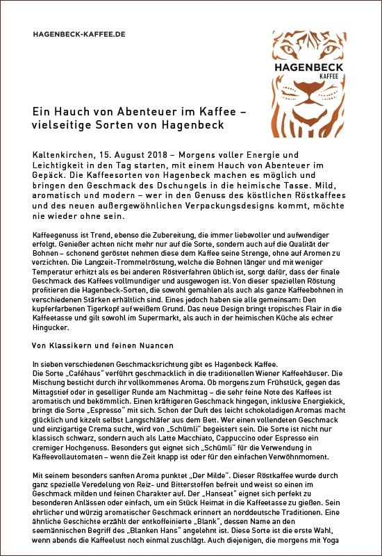 Pressemitteilung Hagenbeck-Kaffee 250g Espresso